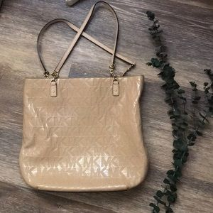 Michael Kors, tan and shiny, perfect condition!